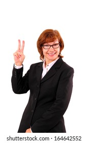 Enthusiastic, mature redhead businesswoman number two, isolated