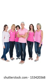 Enthusiastic pretty women posing for breast cancer on white background