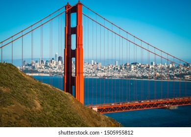 entire cityscape skyline through the Golden Gate Bridge perfect sunny afternoon in the San Francisco Bay Area overlooking the Northwest Passage and gorgeous views of Northern California