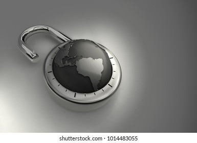 The entire earth unlocked and open for business as 3d Render. A combination padlock is unlocked with the Earth as its focus, indicating achievement on a global scale.