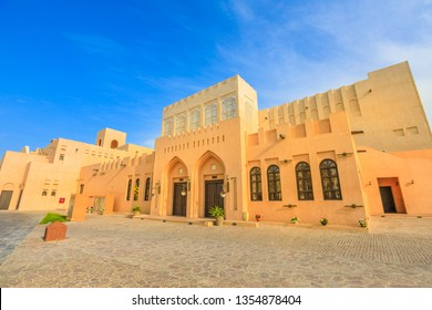 Entrace of Katara village or valley of cultures in Doha, West Bay District, Qatar in a sunny day. Middle East, Arabian Peninsula. Famous tourist attraction in Doha city.