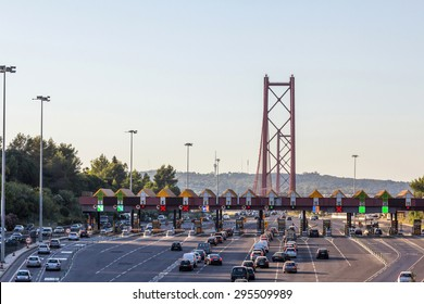 Entrance of 25 de Abril Bridge in Lisbon, Portugal