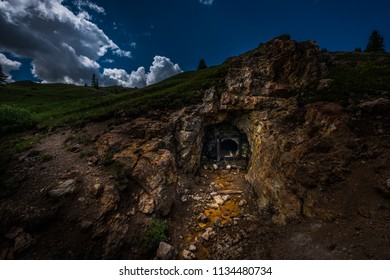Entrance to the abandoned gold mine Colorado Mountains near Ouray