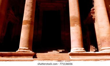 Entrance of Al Khazneh the treasury house of Petra ancient city in Jordan