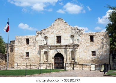 Entrance to The Alamo in San Antonio, Texas, USA.
