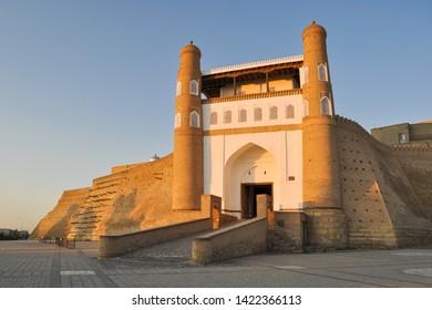 """Entrance to the ancient citadel in Bukhara """"Ark citadel"""", Uzbekistan."""