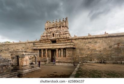 Entrance to ancient Shiva temple (Hindu) at Darasuram, Tamil Nadu, India built by Chola kings