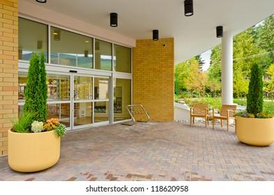 Entrance of a apartment building.