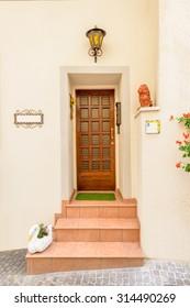 Entrance of an apartment building in Limone, Garda, Italy.