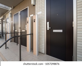 The entrance of an apartment in Japan