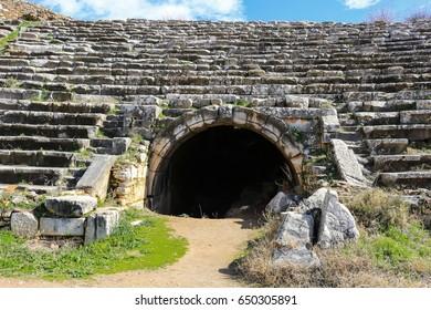 Entrance to Aphrodisias Stadium  in Aphrodisias Turkey in ruins