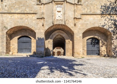 Entrance of archeological museum of Rhodes town,old Hospital of St. John,s Knights, Dodecanese, Greece