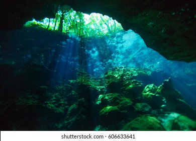 Entrance area of Azul cenote underwater cave