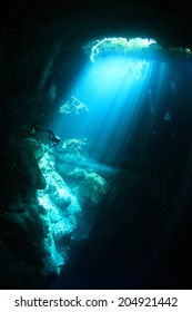 Entrance area of cenote underwater cave with sunlight
