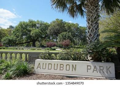 The entrance to Audubon Park in New Orleans, a popular public city park