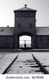 Entrance at Auschwitz / Birkenau and train tracks