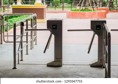 The entrance of automatic access control ticket barriers in Amusement park.