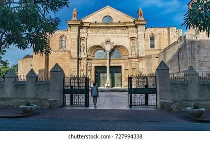 Entrance of the Basilica Cathedral of Santa Maria la Menor. Santo Domingo, Dominican Republic.