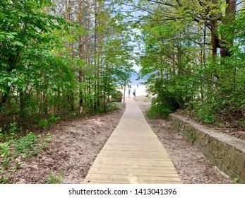 The entrance of a beach in Jurmala, Latvia