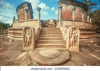 Entrance to the beautiful carved 12th century stone temple of Buddha. Polonnaruwa, Sri Lanka, UNESCO World heritage site.