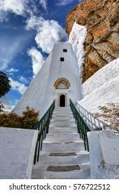 Entrance to the beautiful monastery of Hozoviotissa in Amorgos island, Greece