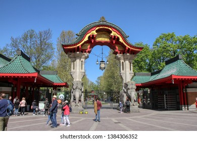 Entrance of the Berlin zoo. Germany - 22/04/2019