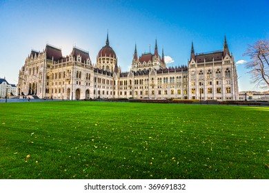 Entrance of Budapest parliament at sunrise, Hungary