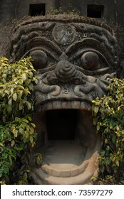 Entrance in the Buddhist cave. Vietnam, national park