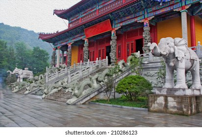 Entrance to a buddhist temple in Jiuhuashan, decorated with stone dragon and elephant statues, china, stylized and filtered to resemble an oil painting.