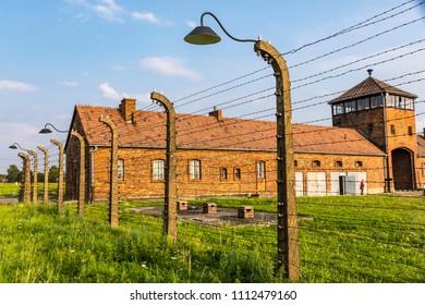 Entrance building of the Auschwitz II–Birkenau, former Nazi concentration and extermination camp near Oswiecim city, Poland