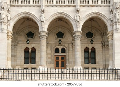 Entrance to the building of Parliament. Budapest, Hungary.
