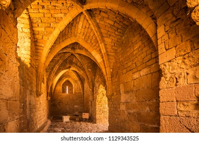 Entrance to the Caesarea National Park in Israel features an arched room built by crusadors