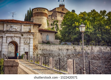 The entrance of Castello di Brescia, Lombardy, Italy. Roman ancient castle. White marble.