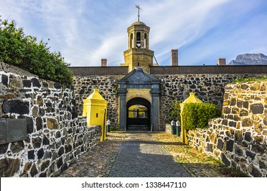 Entrance to the Castle of Good Hope or Cape Town Castle (Kasteel die Goeie Hoop) - bastion fort built in the XVII century in Cape Town. Cape Town, Western Cape, South Africa.
