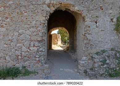 An entrance to the castle of Mystras, near the town of Sparta, Greece.