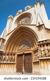 Entrance to Cathedral of Tarragona. Roman Catholic church in Catalonia, Spain