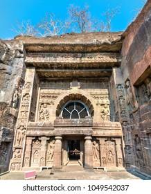 Entrance to Cave 26 at the Ajanta Caves Complex. Maharashtra - India
