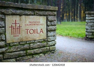 The entrance to the cemetery of German soldiers in Toila, Estonia. Medium shot.