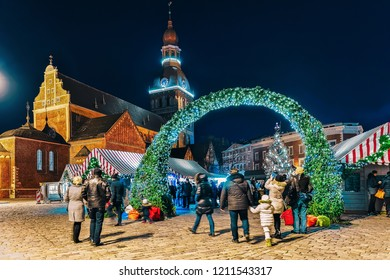 Entrance to the Christmas tree in Riga, Latvia. It is located at the Dome square in Christmas market in winter Riga in Latvia.