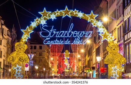 Entrance to the city centre of Strasbourg on Christmas time