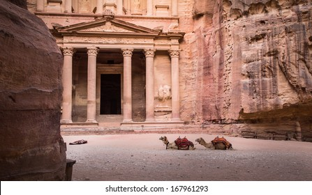 Entrance in City of Petra with two camells and sleeping bag on floor