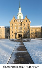 Entrance and clock tower of Trans-Allegheny Lunatic Asylum which is a Kirkbride Psychiatric hospital  in Weston, West Virginia, USA