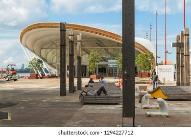 Entrance to The Cloud, Queens Wharf, Auckland, New Zealand. Queens Wharf is one of the best spots in the city to sit back and relax right on the water's edge, January, 23, 2018