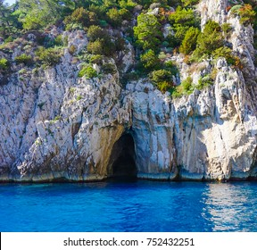 The Entrance to the Coral Grotto on the island of Capri, Italy