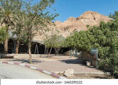 the entrance courtyard at ein gedi national park and reserve in israel with mount yishai and a clear blue sky in the background