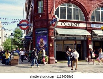 Entrance to Covent Gardens Underground metro station in London West End on the Piccadilly Line,  London, England UK. June 2018