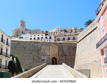 Entrance of Dalt Vila, the historic town of Ibiza. Old city gate.
