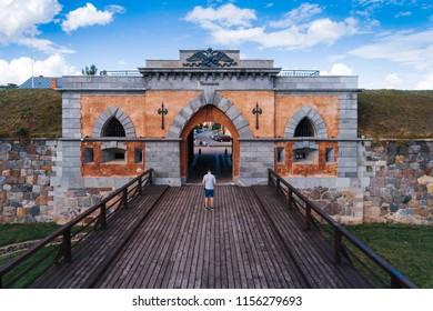 Entrance to Daugavpils fortreses in Daugavpils, Latvia.