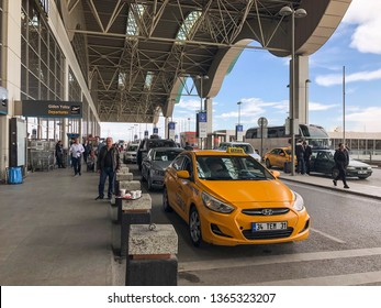 Entrance of Departures in Sabiha Gokcen Airport that is in Anatolian side of Istanbul in Turkey