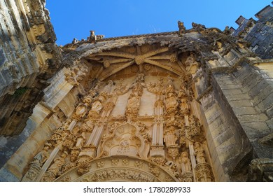 Entrance door facade at the Convent of Christ,  Tomar, Portugal